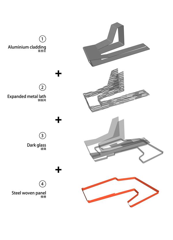 Facade Material Diagram立面材料示意图